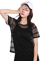 Women's Daily Sexy Fall Shirt,Solid Crew Neck Short Sleeve 100%Polyester