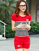 Women's Daily Casual Casual Summer T-shirt Pant Suits,Striped Round Neck Short Sleeve Micro-elastic