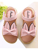 Girls' Flats Comfort PU Spring Fall Casual Walking Comfort Magic Tape Low Heel Blushing Pink Gray Beige Flat