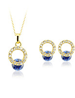 Women's Pendant Necklaces Earrings Set Crystal Imitation Pearl Circular Dangling Style Geometric Vintage Adjustable ClassicSilver Plated
