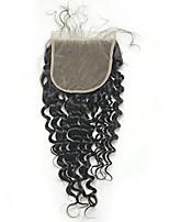 Cierre profundo del cordón de la tapa del pelo humano de la onda profunda 5x5inch del cordón con el pelo del bebé