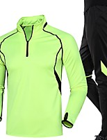 Men's Women's Running Pants Long Sleeves Running Clothing Suits for Running/Jogging Exercise & Fitness Loose Green Black/Green Red+Black