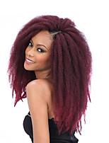 Afro Kinky Tresses Crochet Afro Kanekalon Noir / Bourgogne Brun Noir rouge Noir / Violet Gris Extensions de cheveux 45cm Cheveux Tressée