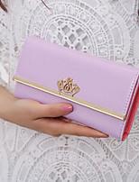 Women Checkbook Wallet PU All Seasons Casual Square Magnetic Fuchsia Purple Pale Pink
