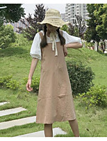 Women's Daily Casual Casual Summer T-shirt Dress Suits,Solid Round Neck 1/2 Length Sleeve Inelastic