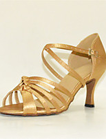 Women's Latin Silk Sandals Performance Buckle Stiletto Heel Pink/White Beige Gold 3