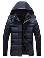 Men's Regular Padded Coat,Chinoiserie Plus Size Solid-Wool Cotton Polyester Long Sleeve