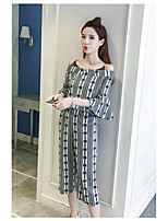 Women's Daily Soak Off Summer Blouse Pant Suits,Floral Print Round Neck Short Sleeve
