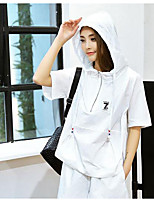Women's Daily Casual Casual Summer Hoodie Pant Suits,Solid Hooded Short Sleeve Micro-elastic