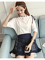Women's Daily Casual Casual Summer T-shirt Skirt Suits,Striped Color Block Round Neck 1/2 Length Sleeve Micro-elastic