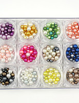 12 Colors Mixed Sizes 3d Nail Art Pearls Rhinestones Decorations Accessories Lovely Round Nail Pearl Pink 130g/PC