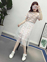 Women's Casual/Daily Casual Summer T-shirt Skirt Suits,Polka Dot Round Neck Short Sleeve