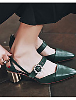 Women's Shoes Real Leather PU Spring Basic Pump Heels For Casual Black Beige Green