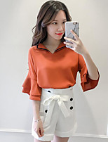 Women's Going out Casual/Daily Fashion Summer T-shirt Pant Suits,Solid Round Neck Short Sleeve Micro-elastic