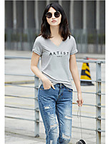 AMIIWomen's Daily Casual Simple T-shirtSolid Word/Phrase Round Neck Short Sleeve Cotton