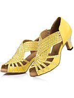 Women's Latin Satin Heels Indoor Rhinestone Cuban Heel Blue Yellow 3