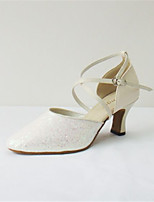 Women's Latin Real Leather Sandals Performance Criss-Cross Cuban Heel Beige 2
