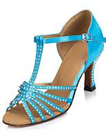 Women's Latin Lycra Faux Suede Heels Professional Rhinestone Stiletto Heel Purple Blue 3