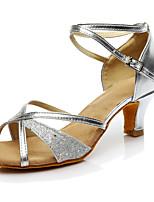 Women's Latin Paillette Heels Sneakers Performance Paillettes Cuban Heel Gold Silver Customizable