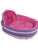 Dog Bed Pet Baskets Solid Color Block Warm Soft Washable Ruby Purple