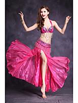 Devemos vestir roupas de dança da barriga feminina frente à frente do spandex
