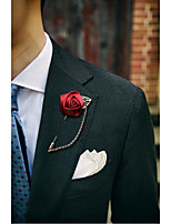 Men's Suit Gold Leaf Rose Brooch/Male/Female Lead/A Long Needle Tape Chain