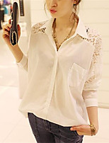 Women's Going out Casual/Daily Sexy Summer Fall T-shirt,Solid Shirt Collar Long Sleeve Polyester Medium