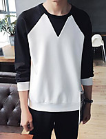 Men's Casual/Daily Creative Sweatshirt Simple Round Neck Micro-elastic Polyester Spandex Long Sleeve Spring