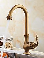 Античный европейский Настольная установка Керамический клапан Античная медь , кухонный смеситель