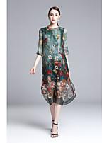 Ample Courte Robe Femme Sortie Décontracté / Quotidien Vintage Chinoiserie,Imprimé Col Arrondi Midi Demi Manches Autres Eté Taille Normale
