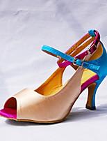 Damen Latin Seide Sandalen Aufführung Verschlussschnalle Stöckelabsatz Mandelfarben 7,5 - 9,5 cm Maßfertigung