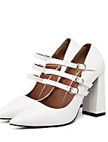 Для женщин Обувь на каблуках Босоножки Свиная кожа Весна Повседневные Босоножки Белый Черный 7 - 9,5 см