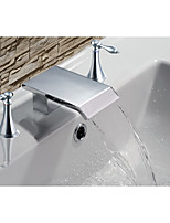 Mediterranean Beach Style Widespread Waterfall Two Handles Three Holes for  Chrome , Bathroom Sink Faucet