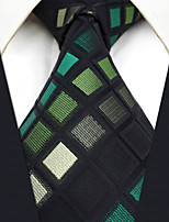 CS2  New Mens Necktie GreenMulticolor Checked 100% Silk Unique Classic