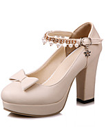 Women's Heels Basic Pump Summer Leatherette Dress Party & Evening Bowknot Chunky Heel Black Beige Blushing Pink 3in-3 3/4in
