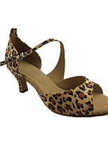 Women's Latin Silk Sandals Performance Leopard Cuban Heel Leopard 2