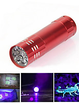 9 LED Mini Aluminum UV Flashlight Portable Purple Violet 395nm Light UV Torch Light Lamp