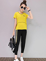 Women's Other Casual Simple Other Spring Summer Shirt Pant Suits,Solid Round Neck Short Sleeve