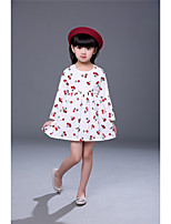 Girl's Print Dress,Cotton Acrylic Fall Winter Long Sleeve