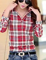 Feminino Camisa Social Casual Simples Outono,Xadrez Algodão Colarinho de Camisa Manga Longa Média