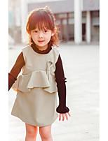 Девичий Платье Другое Контрастных цветов Длинный рукав