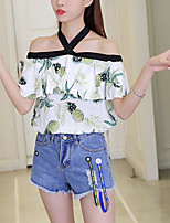 Women's Going out Casual/Daily Sexy Cute Summer Fall T-shirt,Floral Print Halter Short Sleeve Polyester Medium