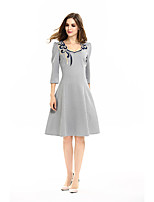 Womens Embroidery Elegant Three Quarter Square Collar Work office Vintage Casual Party Fit and  Skater Dress D0623