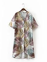 Для женщин На выход На каждый день Весна Лето Рубашка V-образный вырез,Секси Простое Уличный стиль С принтом С короткими рукавами,Шёлк