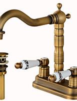 Настольная установка Керамический клапан Два отверстия for  Античная медь , Ванная раковина кран