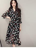 Для женщин На каждый день А-силуэт Платье Однотонный Цветочный принт С принтом,Круглый вырез Мини С короткими рукавамиПолиэстер 100%