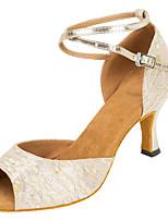 Для женщин Латина Лак Сандалии Концертная обувь Кубинский каблук Золотой Черный 5 - 6,8 см 7,5 - 9,5 см Персонализируемая