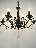 Ac110-240 Living Room Chandelier Simple Crystal Iron Candle Lights Living Room Decoration Lamps Lighting