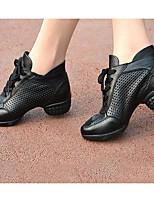 Women's Modern Cowhide Tulle Heels Practice Black