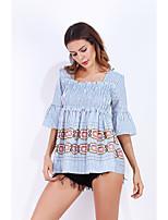 T-shirt Da donna Quotidiano Moda città Estate Autunno,A strisce Con stampe Squadrata Cotone Mezza manica Sottile